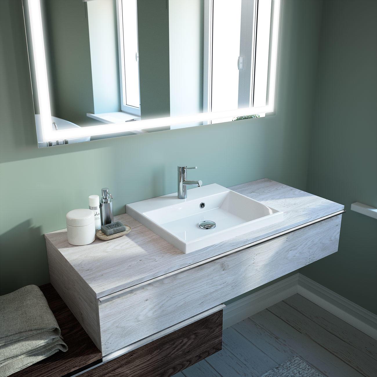 Plan de toilette fin + vasque  Meubles de salle de bains