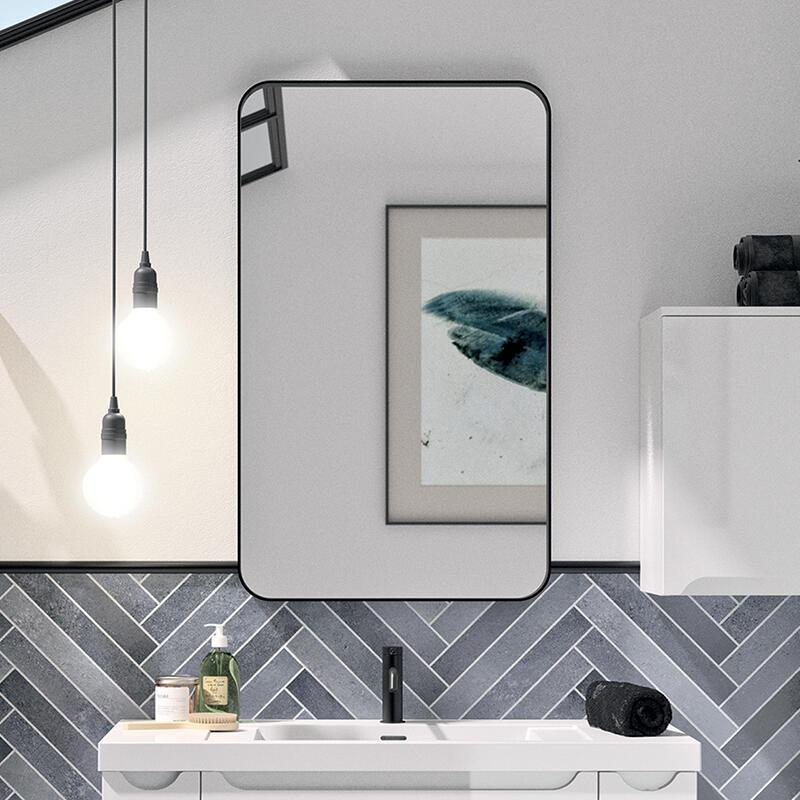 miroir cadre arrondi noir cedam