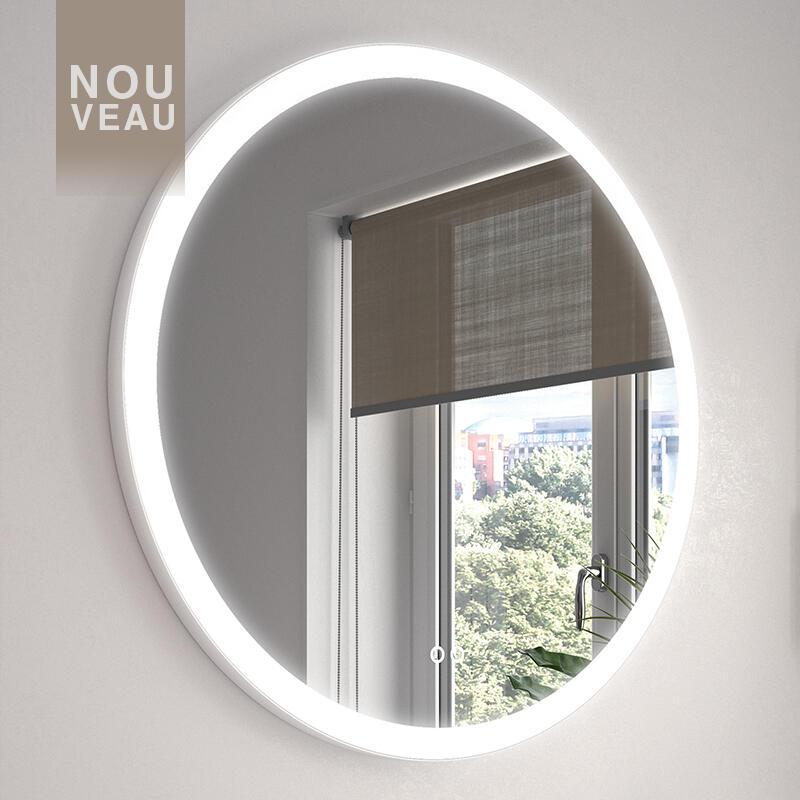 miroir cadre metal blanc eclairant cedam