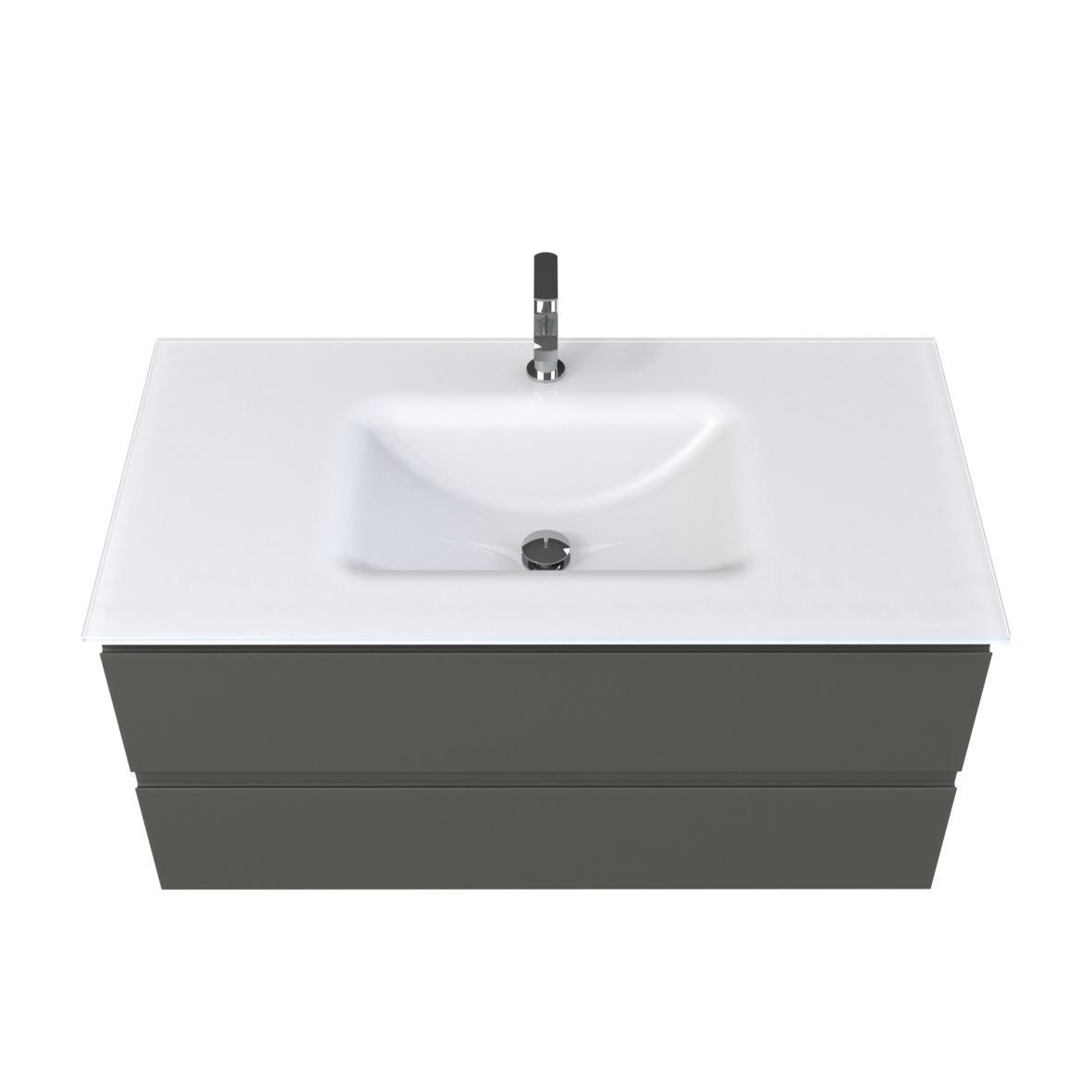 Plan vasque verre blanc sablé cedam