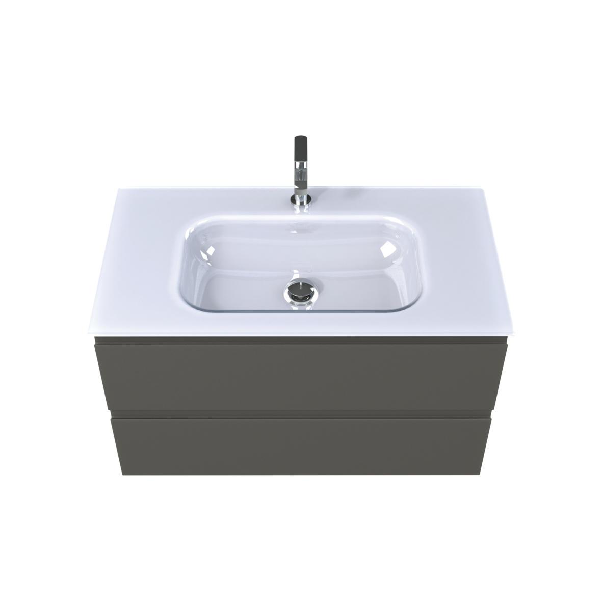 Plan vasque verre blanc brillant