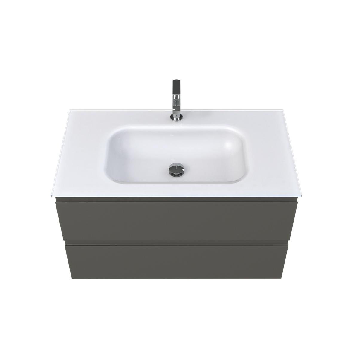Plan vasque verre blanc mat