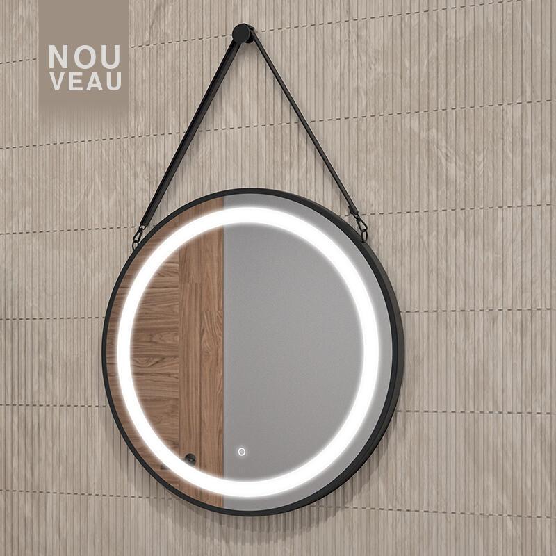 miroir rond cadre metallique noir cedam