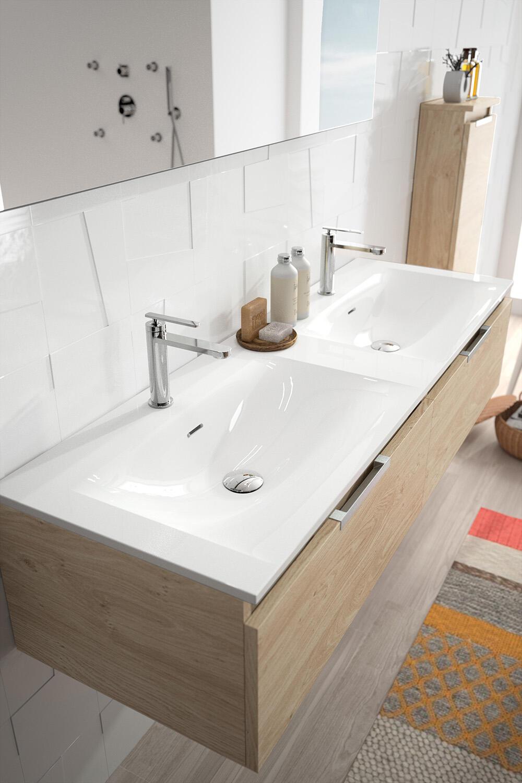 meuble de salle de bain ten cedam plan marbre reconstitue brillant