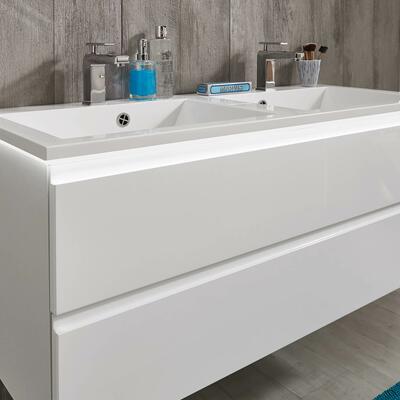 Collection Air, Largeur 120 cm, Blanc brillant, Plan en marbre reconstitué