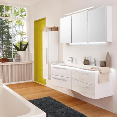Collection Allure, Largeur 140 cm, Blanc brillant, Plan en Evermite