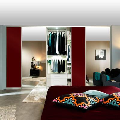 Rangement, Chambre à coucher, Portes coulissantes miroir et verre rouge laqué