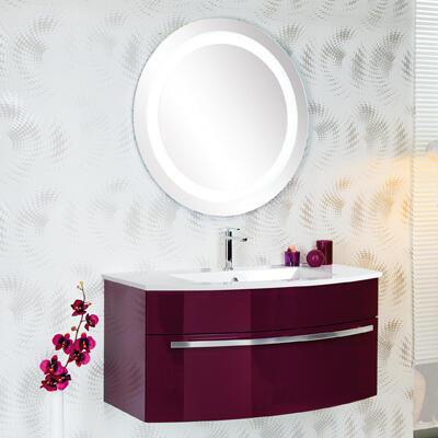 Collection Cintra, Largeur 105 cm, Aubergine brillant, Plan en marbre reconstitué brillant