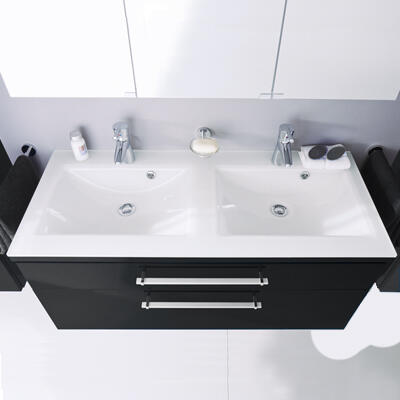 Collection Cool line, Largeur 120 cm, Anthracite brillant, Plan en verre blanc