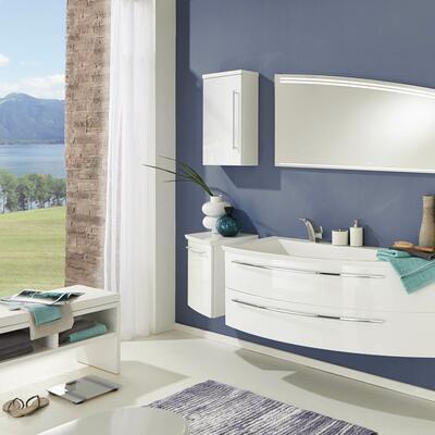 Collection Crescendo, Largeur 140 cm, Blanc brillant, Plan en marbre reconstitué brillant