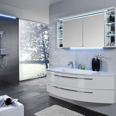 Collection Crescendo, Largeur 140 cm, Blanc brillant, Plan en marbre reconstitué brillant