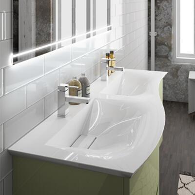 Collection Curl, Largeur 140 cm, Olive brillant, Plan en marbre reconstitué brillant