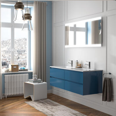 Collection Elite, Largeur 120 cm, Bleu gris, Plan en marbre reconstitué brillant