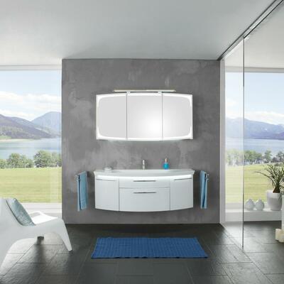 Collection Eternity, Largeur 140 cm, Blanc brillant, Plan en marbre reconstitué brillant