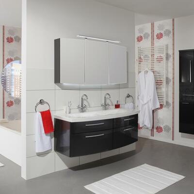 Collection Eternity, Largeur 140 cm, Anthracite brillant, Plan en marbre reconstitué brillant