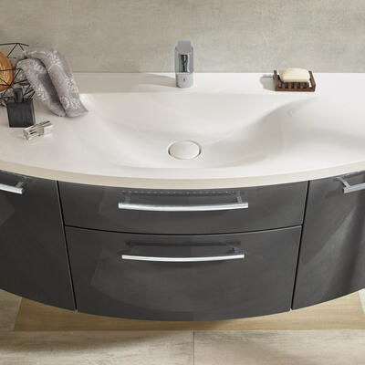 Collection Eternity, Largeur 120 cm, Anthracite brillant, Plan en marbre reconstitué brillant