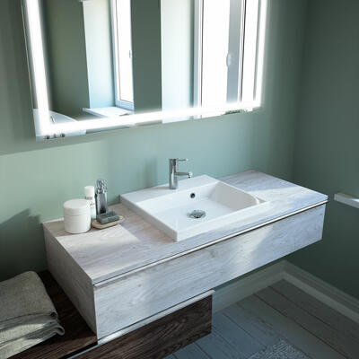 Collection Extenso, Largeur  2 x 120 cm, Chêne blanc, Chêne noir, Plan de toilette fin avec vasque à poser en marbre reconstitué brillant
