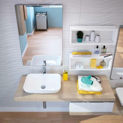 Collection Extenso, Largeur 210 cm, Beige tranché, Blanc brillant, Plan de toilette épais avec vasques à poser en marbre reconstitué brillant