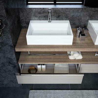 Collection Extenso, Largeur sous-vasque 180 cm, Grège brillant, Brun tranché, Plan de toilette épais avec vasques à poser en marbre reconstitué brillant