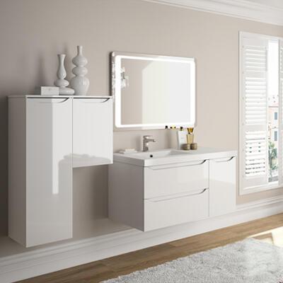 Collection Feeling, Largeur 105 cm, Blanc brillant, Plan en marbre reconstitué brillant
