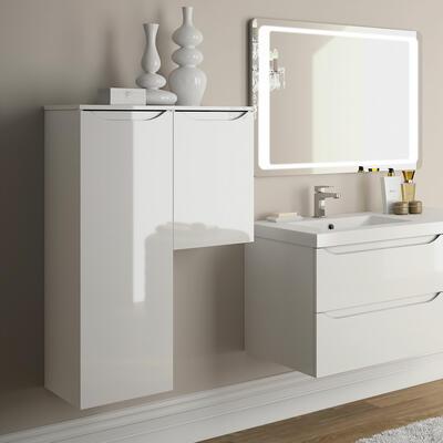 Colonne Feeling, Colonne largeur 35 cm, Meuble haut largeur 35 cm, Blanc brillant