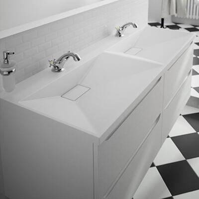 Collection Feeling, Largeur 140 cm, Cotta blanc, Plan en marbre reconstitué brillant