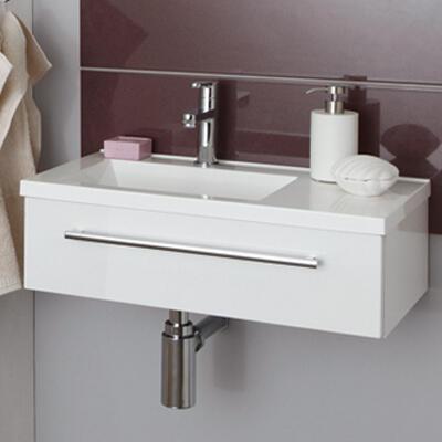 Collection For guests, Largeur 60 cm, Blanc brillant, Plan en marbre reconstitué
