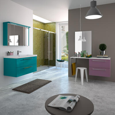 Collection Gloss, Largeur 90 cm, Turquoise brillant, Plan en céramique