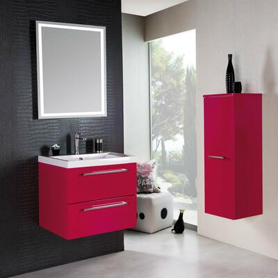 Collection Gloss, Largeur 60 cm, Framboise, Plan en marbre reconstitué brillant