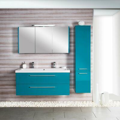 Collection Gloss, Largeur 120 cm, Turquoise, Plan en marbre reconstitué brillant