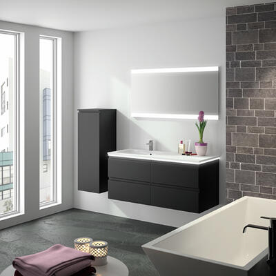 Collection Gloss, Largeur 120 cm, Noir, Plan en marbre reconstitué brillant