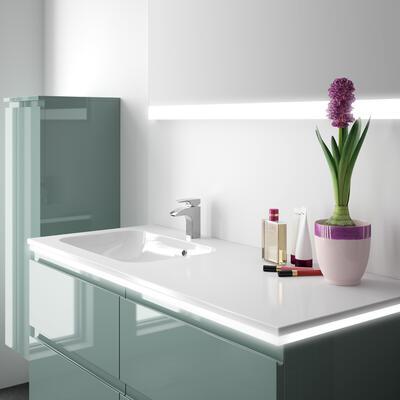 Collection Gloss, Largeur 120 cm, Feutrine brillant, Plan en marbre reconstitué brillant