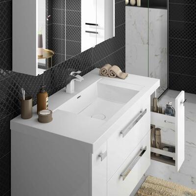 Collection Harmonie, Largeur 106 cm, Blanc brillant, Plan vasque en marbre reconstitué brillant