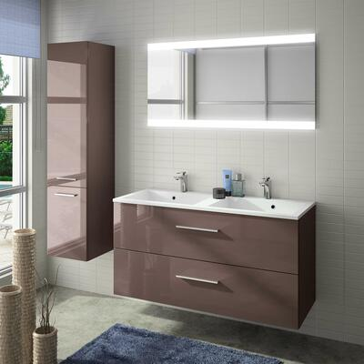 Collection Laura, Largeur 120 cm, Pourpre brillant, Plan en marbre reconstitué brillant
