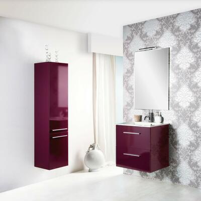 Collection Laura, Largeur 60 cm, Aubergine brillant, Plan en céramique