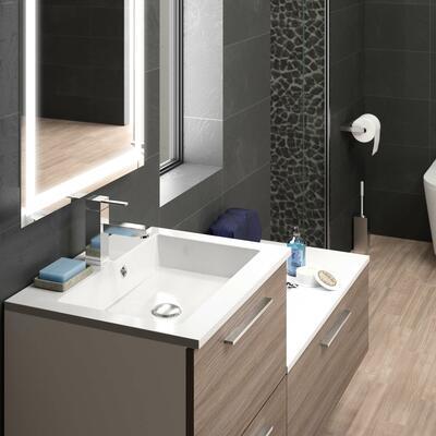 Collection Laura, Sous-vasque 60 cm + Sous-plan 90 cm -  Façades gris filaire côtés blanc brillant - Plan vasque en marbre reconstitué brillant