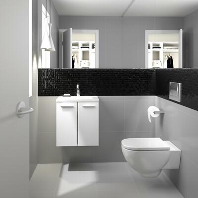 Lave main Léa, Largeur 48 cm, 2 portes - Cotta blanc, Plan en marbre reconstitué brillant