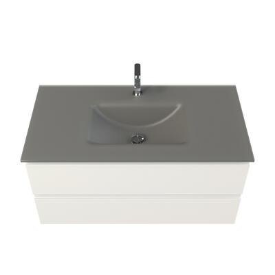 Plan vasque verre anthracite sablé cedam