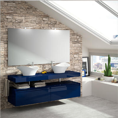 Collection Plazza, Largeur 180 cm, Bleu nuit brillant, Plateau suspendu avec vasques Amon