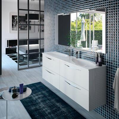 Collection Slim, Largeur 160 cm, Blanc brillant, Double vasque en amande en marbre reconstitué brillant