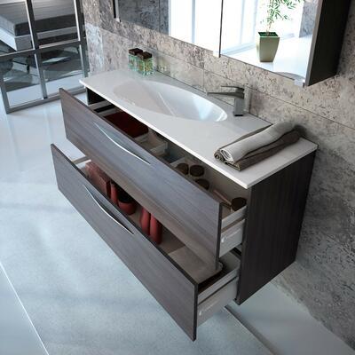 Collection Slim, Largeur 120 cm, Chêne noir, Plan vasque en amande en marbre reconstitué brillant