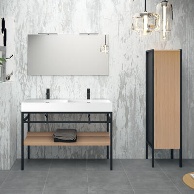 Collection Steel, Largeur 120 cm, Console, Vasque en marbre reconstitué brillant