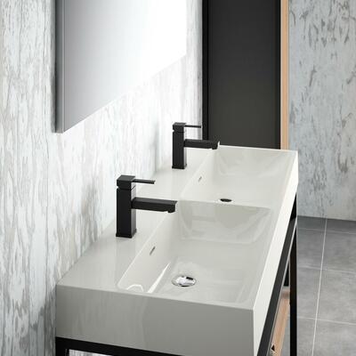 Collection Steel, Largeur 120 cm, Console, Plan vasque en marbre reconstitué brillant