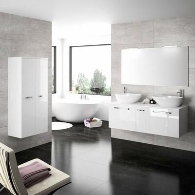 Collection Strella 2, Largeur 140 cm, Blanc brillant, Plan en stratifié avec vasques et baignoire eros