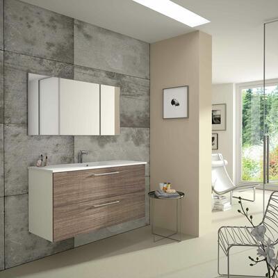 Collection Studio, Largeur 120 cm, Brun tranché, Plan en marbre reconstitué brillant