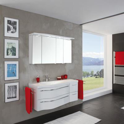 Collection Swing, Largeur 140 cm, Blanc brillant, Plan en marbre reconstitué brillant