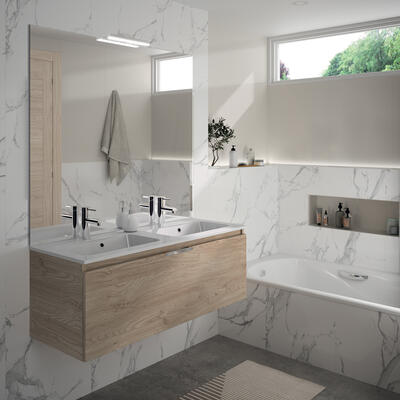 meuble de salle de bain ten cedam chene sanremo double vasque