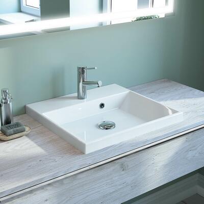 Vasque semi-encastrée en marbre reconstitué brillant
