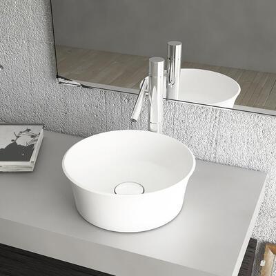 Modèle Saturne Rond, Bol à poser en marbre reconstitué brillant
