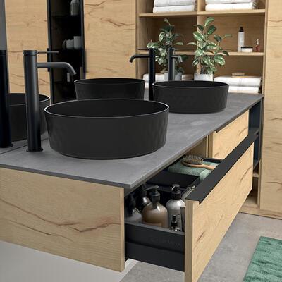 vasque noire céramique noir plateau natura
